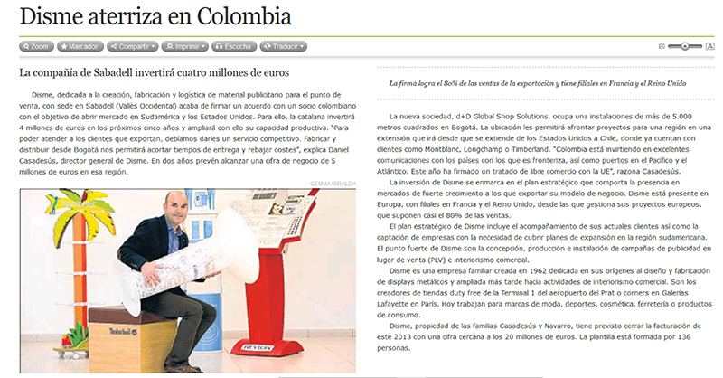 Disme Group - The Global Shop - Error, noticia: La Vanguardia has published an article about Disme Group´s expansion in Colombia.